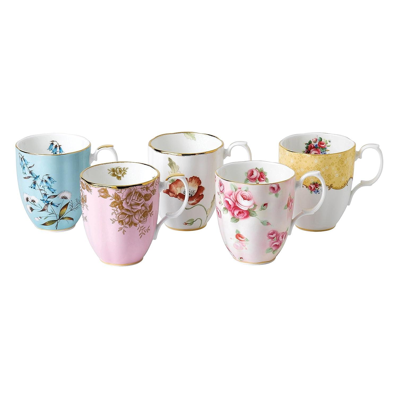 5 Piece Royal Albert 40017548 100 Years 1950-1990 Teacup /& Saucer Set Multicolor
