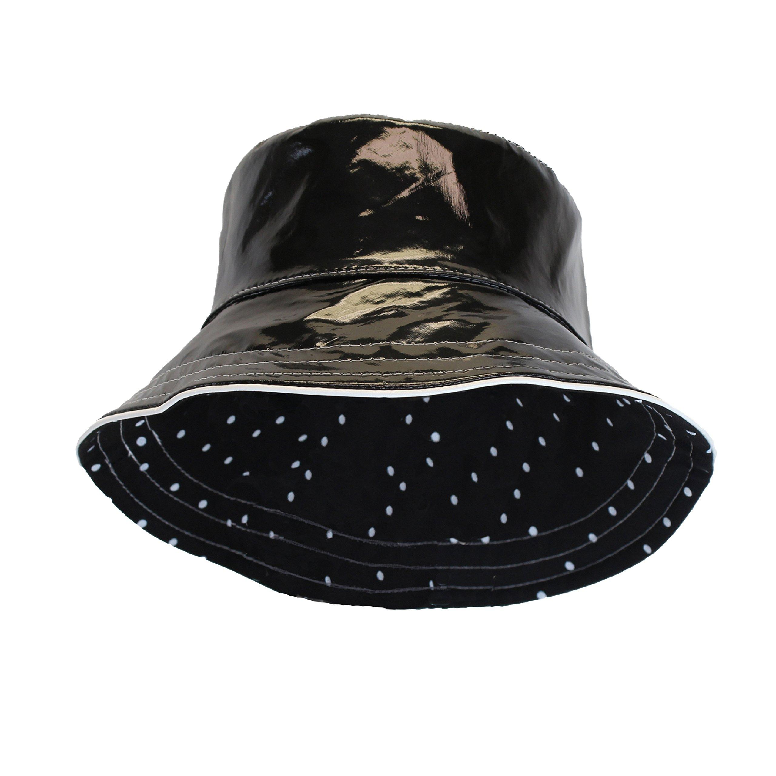 Black Patent Polka Dot Reversible Waterproof Bucket Rain Hat, Foldable, One Size