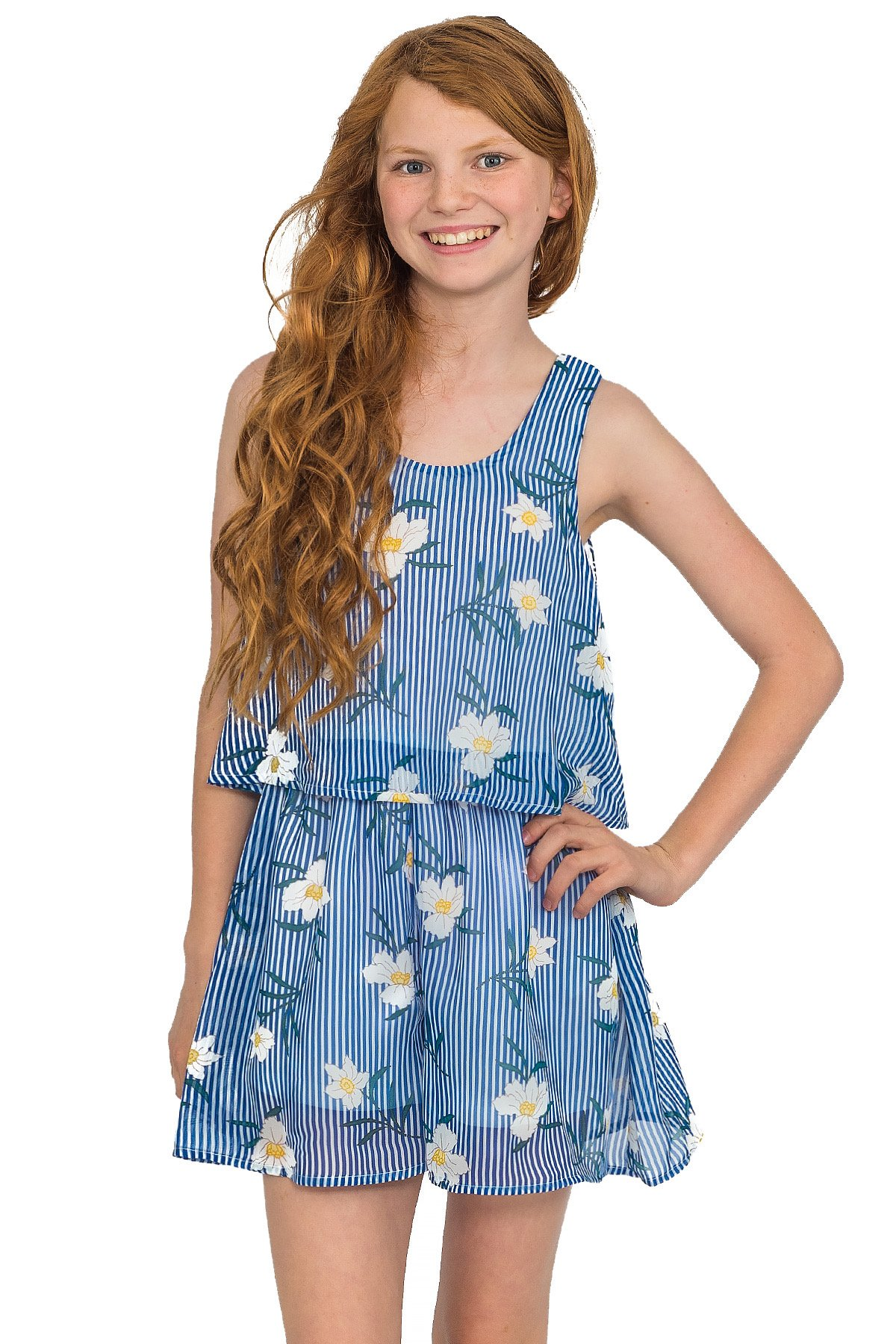 Truly Me, Big Girls Tween Sweet Floral Romper (Many Options), 7-16 (16, Sky Blue)