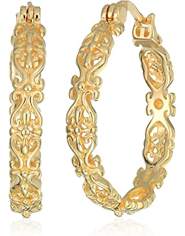 745ae343a Gold Plated Sterling Silver Filigree Round Hoop Earrings