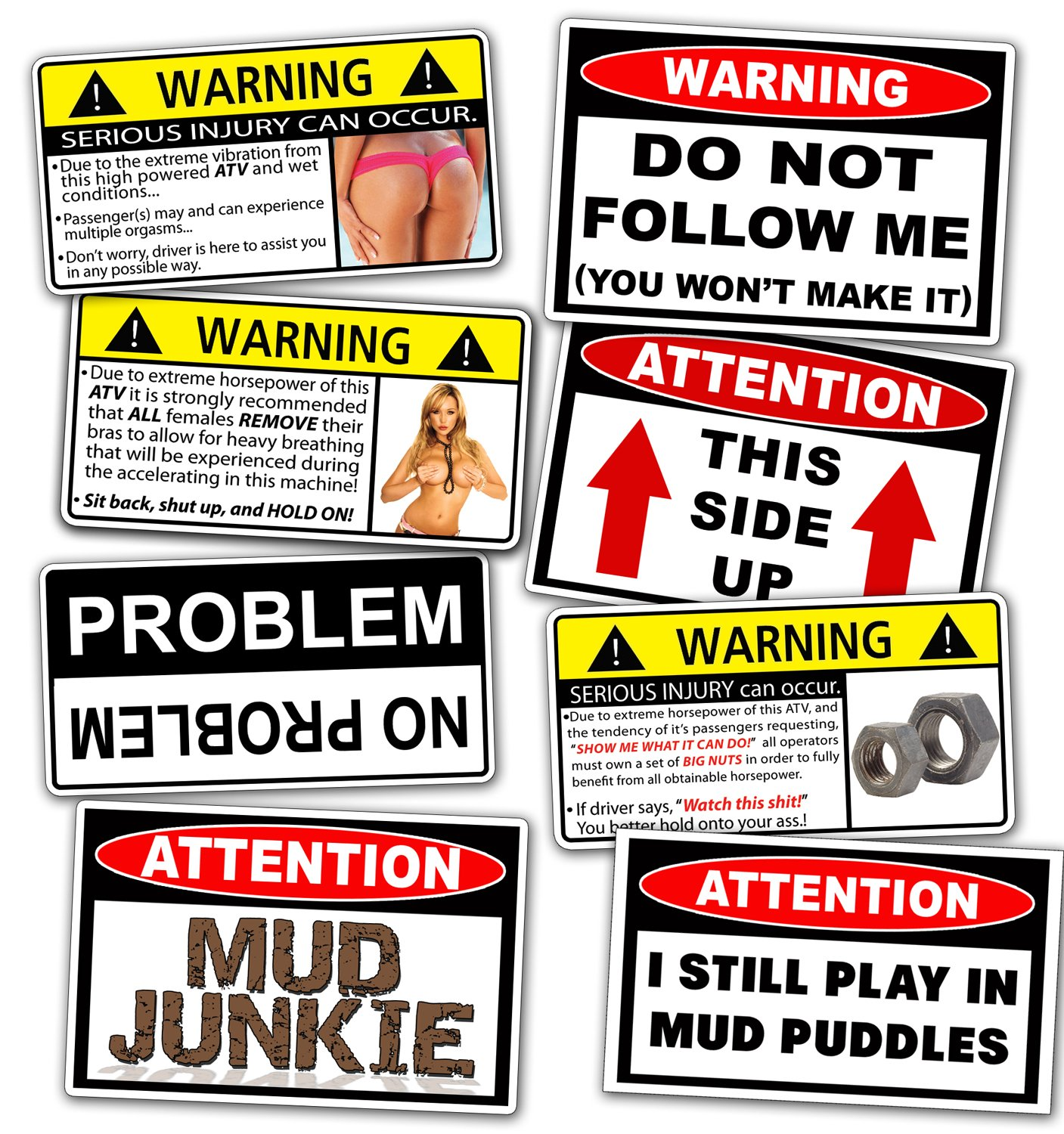 Funny ATV Warning Decal Off Road MUD 4x4 Sticker Pack Set