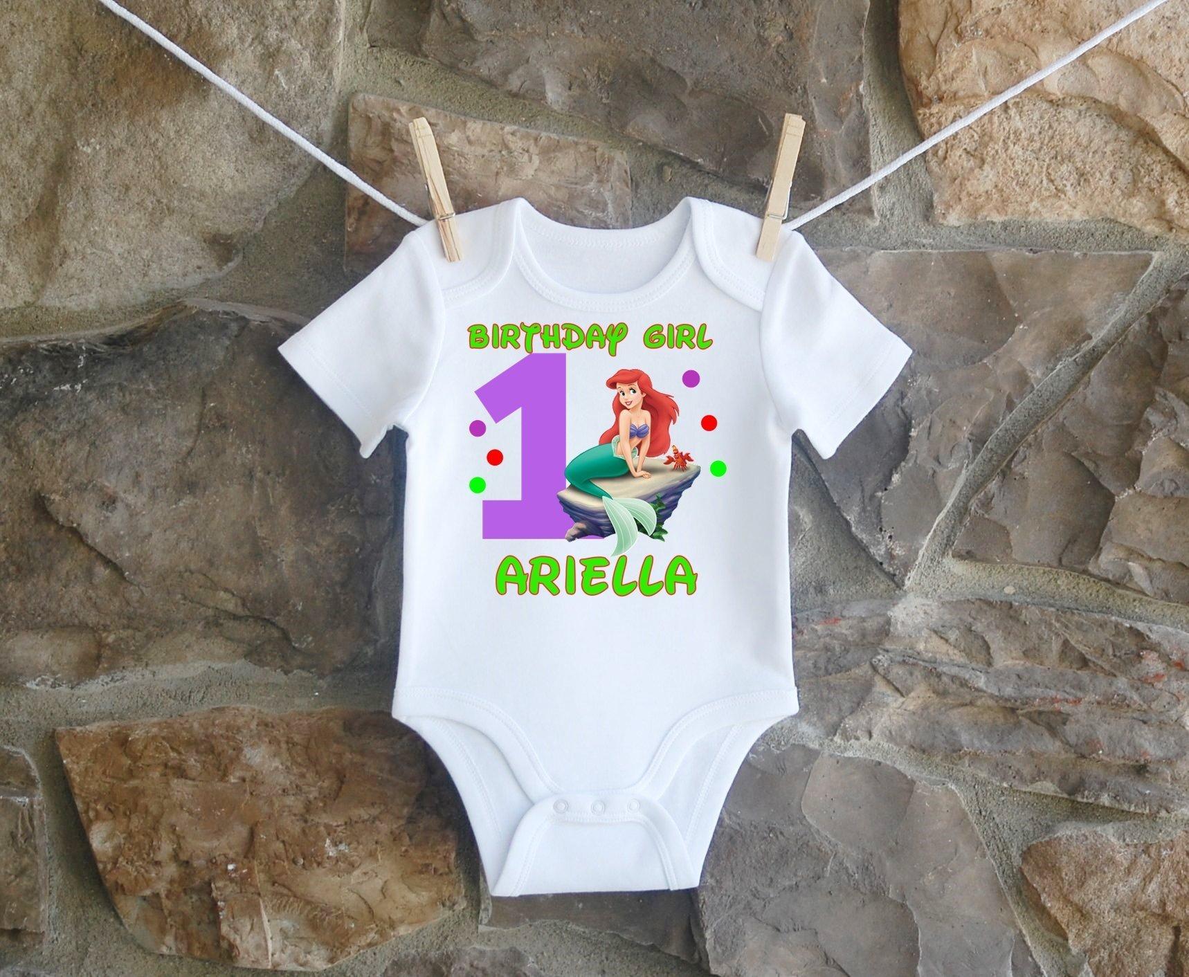 The Little Mermaid Birthday Shirt, The Little Mermaid Birthday Shirt For Girls, Personalized Girls Ariel The Little Mermaid Birthday Shirt, Customized The Little Mermaid Ariel Birthday Shirt