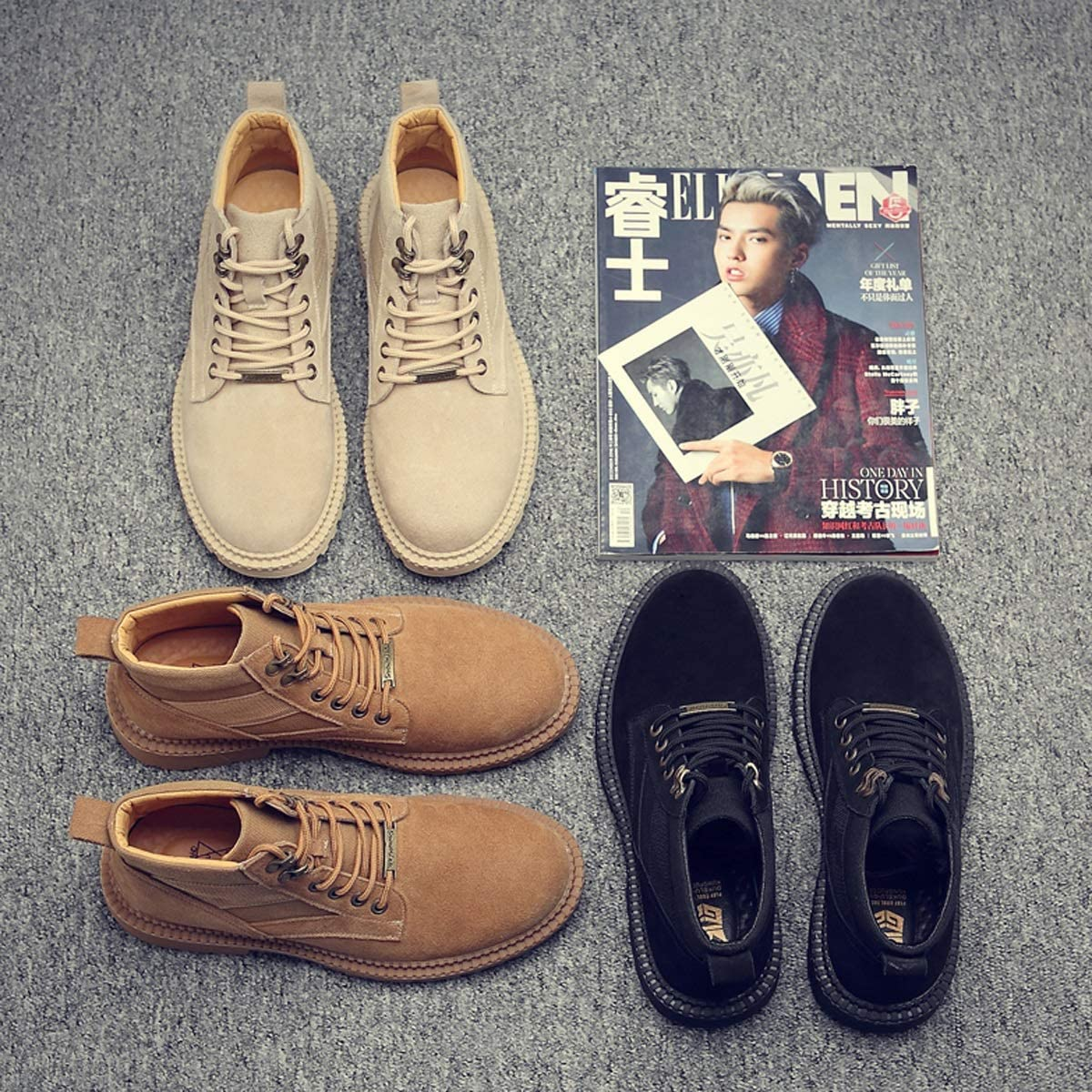 CHENTAOCS Martin Botas, Hombre Otoño Transpirable Inglaterra Zapatos Altos, Medio Hombres Botas, Botas de Cuero Nieve Hombre Zapatos Cómodos y Prácticos negro