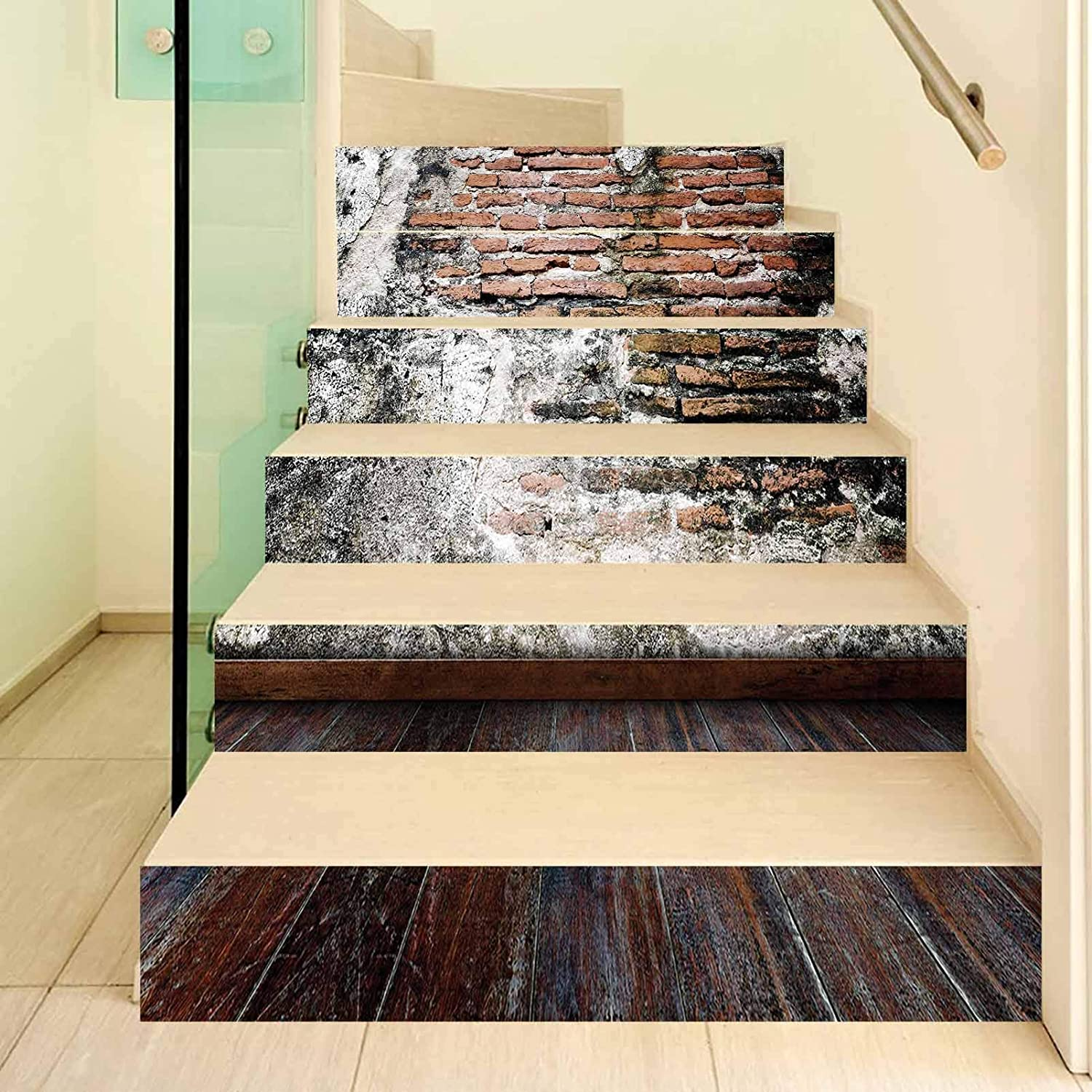Rustic 3D Stair Stickers Decals-6Pcs/Set,Worn Looking Wall Photograph with Wooden Floors Ancient Building Structure Decorative Stair Risers Stickers Removable Staircase Decals Mural Wallpaper for Home
