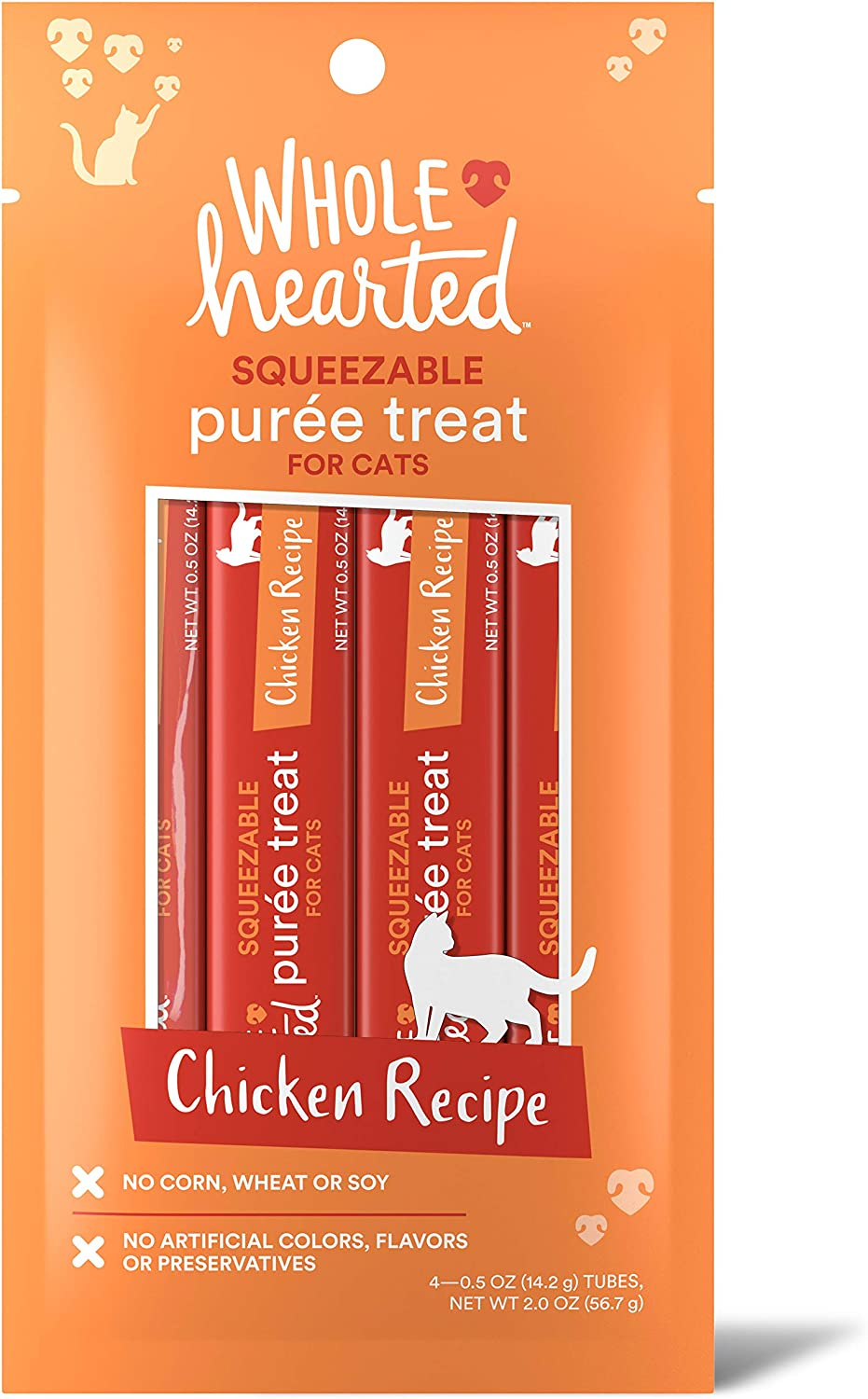WholeHearted Chicken Recipe Puree Squeezable Cat Treats, 0.5 oz., Count of 4 by PETCO