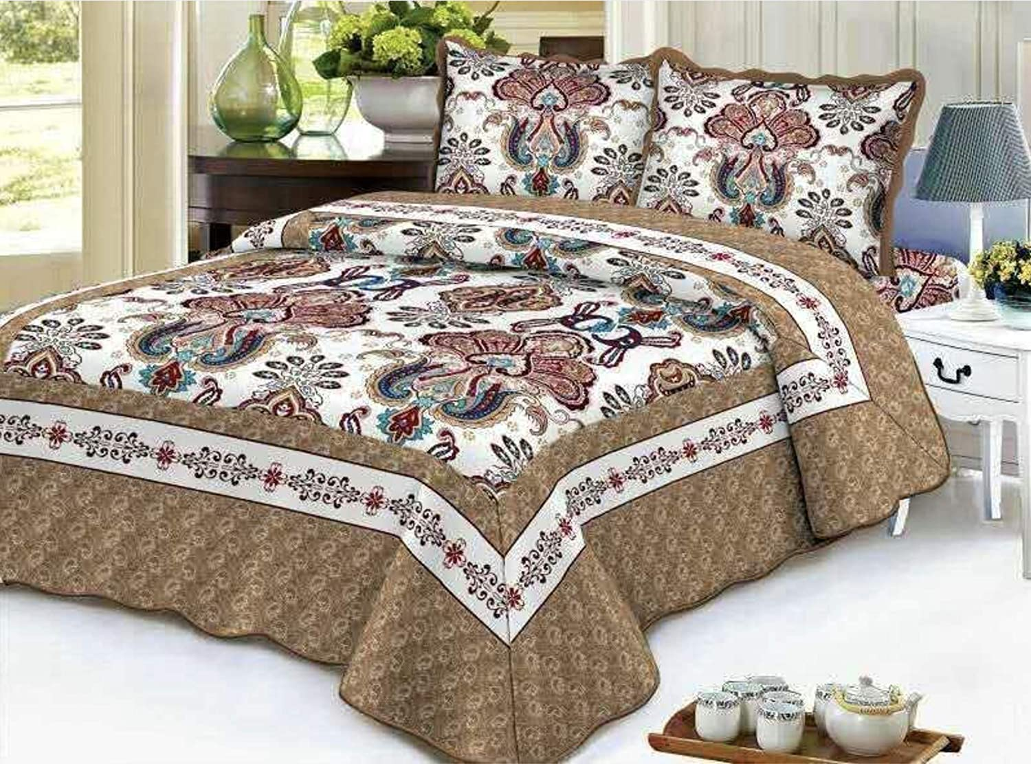 Empire Home Traditional Reversible 3-Piece Quilted Bedding Bedspread Coverlet (Colorfull Flowers, Queen Size)