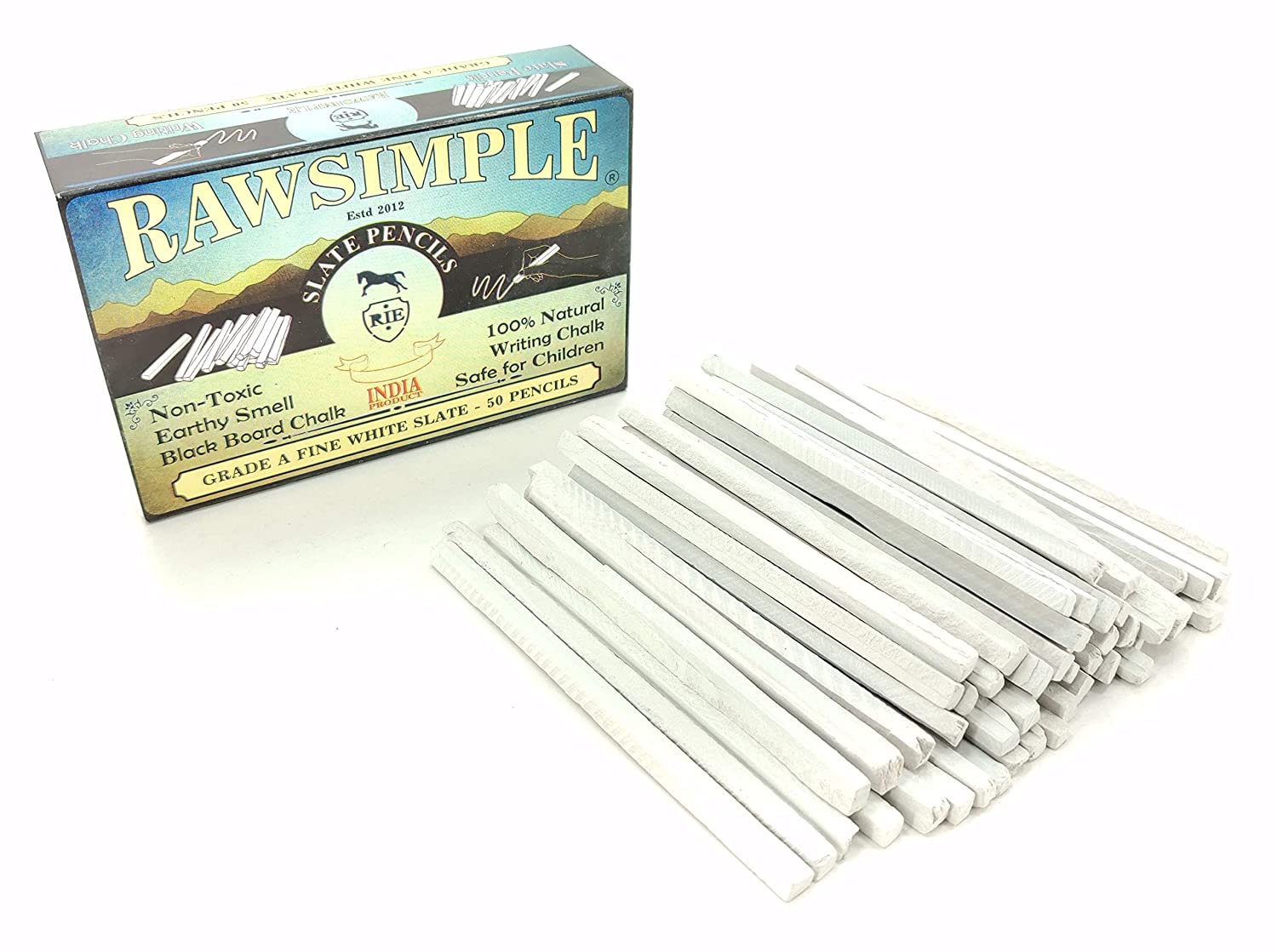 White Slate Pencils GRADE A FINE - Natural Lime Stone Chalk Pencils for Chalkboard, Fabric and Metal to Write, Sketch, Draw and Edible (Pack of 50) by ...