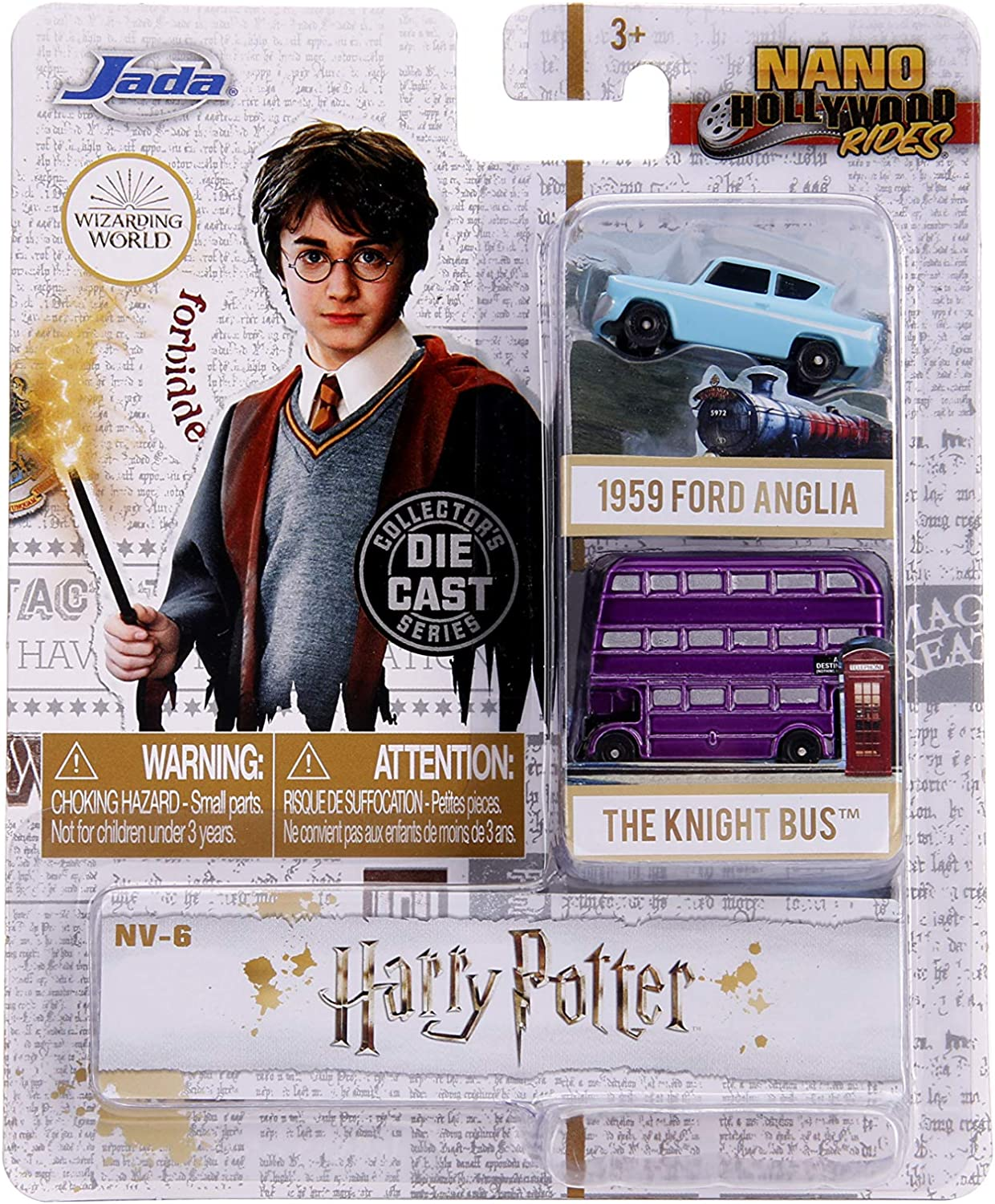 Jada Toys Nano Hollywood Rides Harry Potter 1959 Ford Anglia & Knight Bus 2-Pack Die-Cast Collectible Vehicles 31719