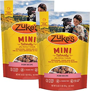 product image for Zuke's Mini Naturals Dog Treats, Pork, 16 oz. Pouch - 2 Pack