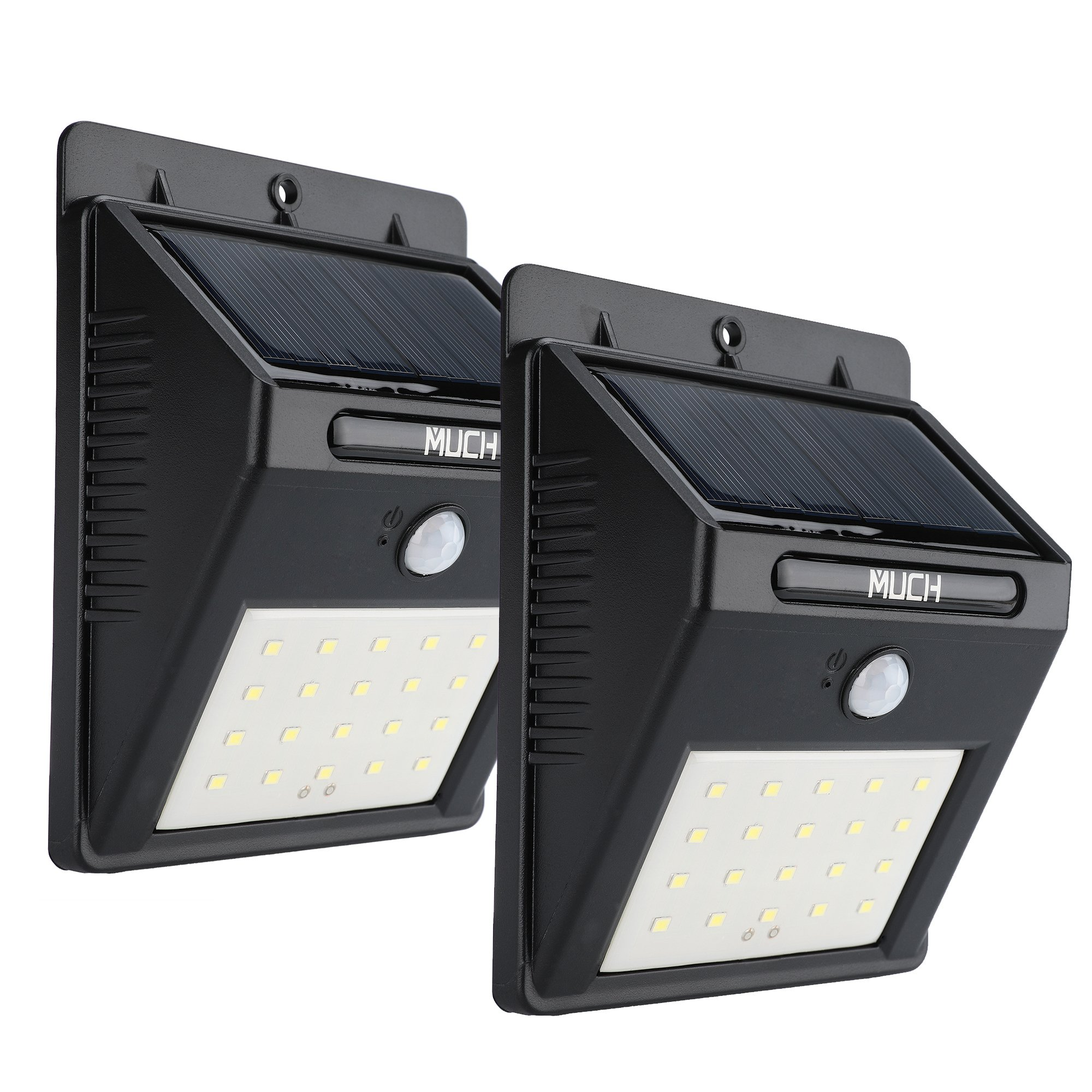 Much Solar Lights Bright 20 LED Solar Power Led Security Lights with Motion Sensor Wireless Waterproof Wall Lights for Driveway Patio Garden Path 2 Pack