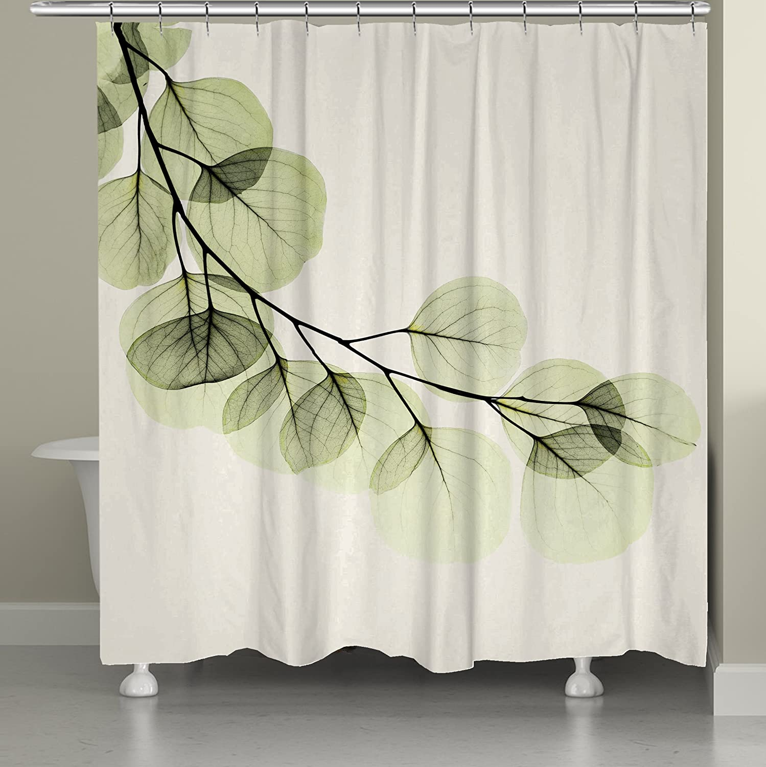 Laural Home Eucalyptus X-Ray Shower Curtain, 71 x 74