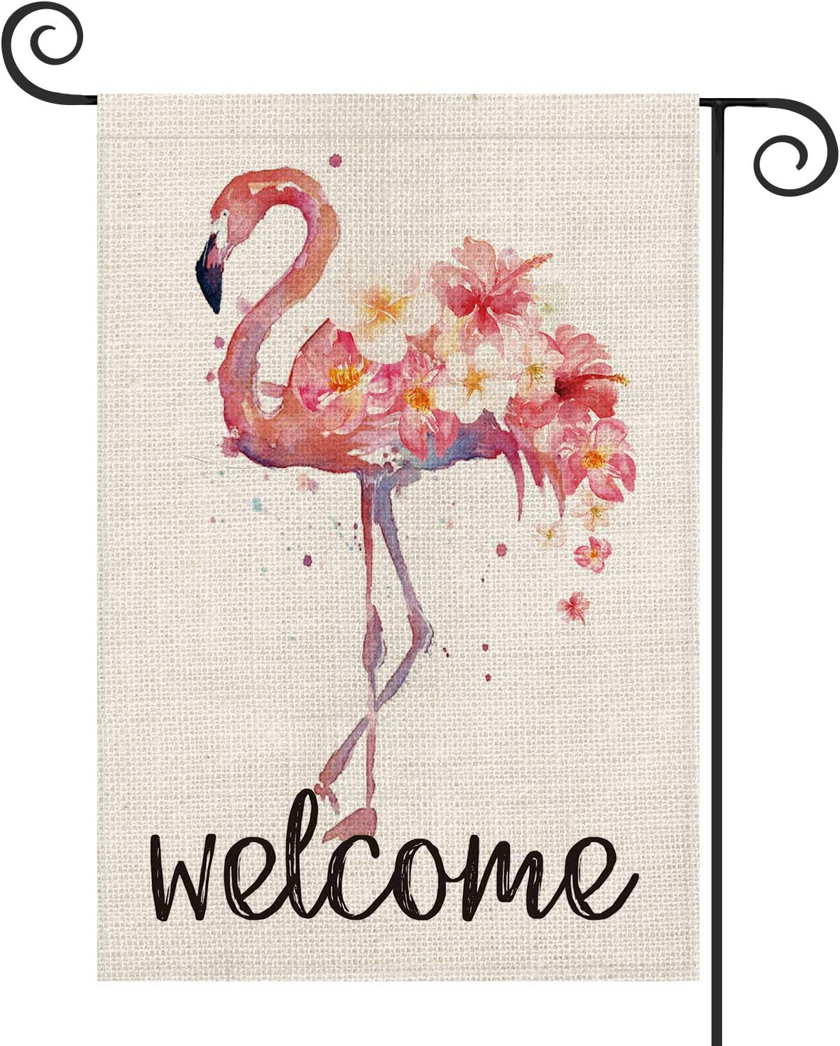 AVOIN Watercolor Flamingo Garden Flag Vertical Double Sided, Welcome Summer Pink Flowers Flag Yard Outdoor Decoration 12.5 x 18 Inch