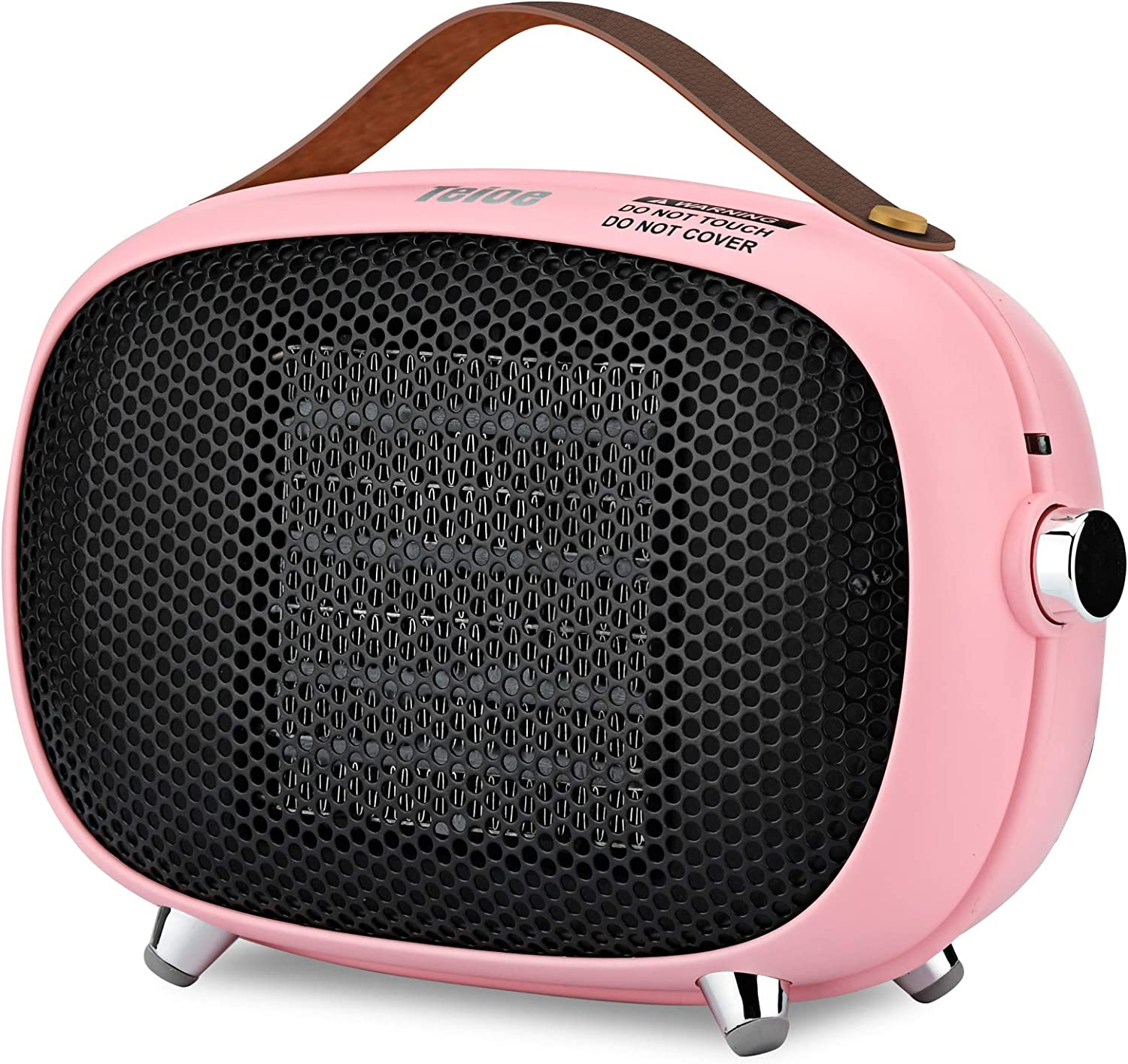 Space Heater, Teioe Mini Electric Space Heater 800W/400W, Small PTC Ceramic Heater with Tip-Over & Overheat Protection, 3 Operating Modes, Portable Space Heaters for Indoor, Office, Bedroom(PINK)