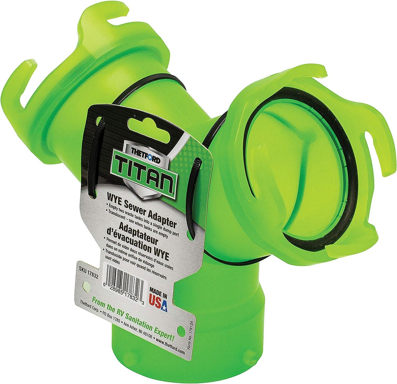 Thetford 17832 Titan Wye Sewer Adapter - Translucent Green