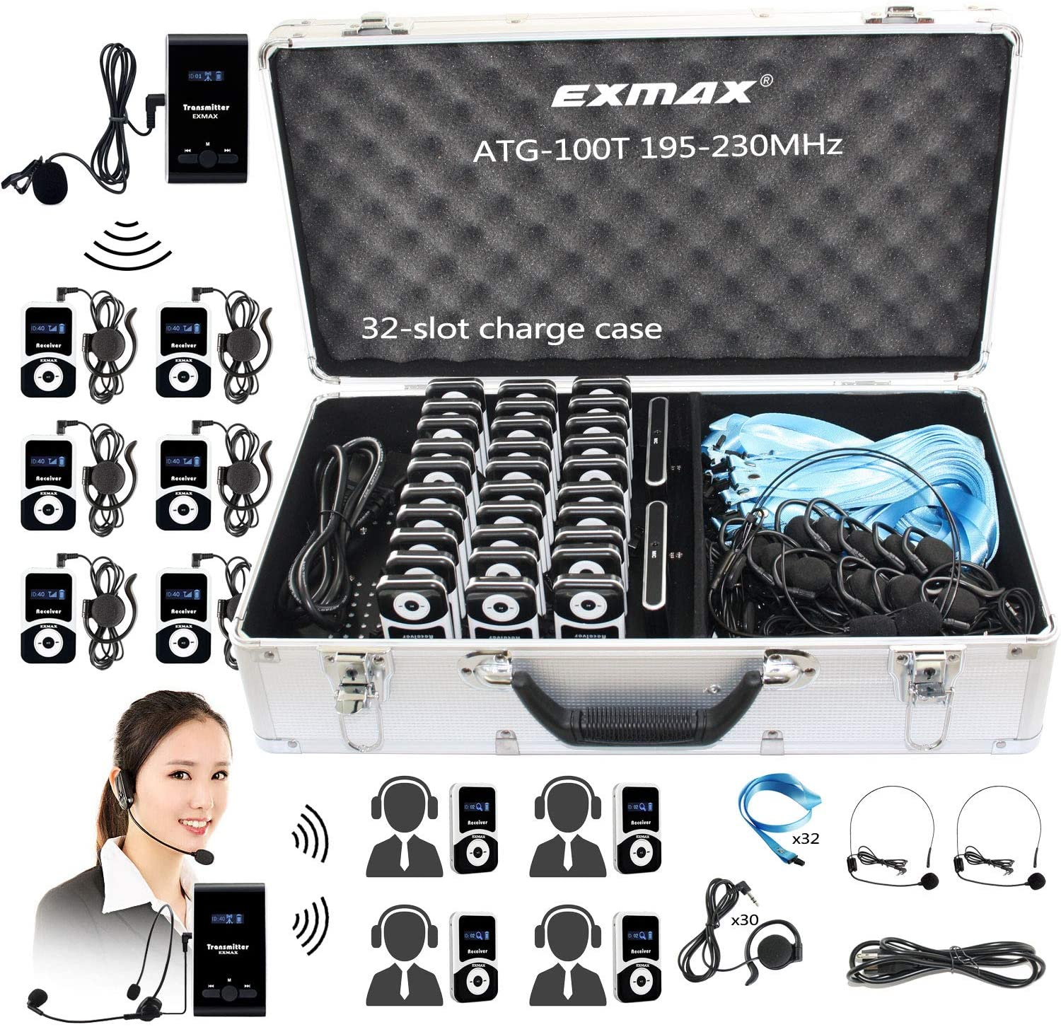 EXMAX ATG-100T 195-230MHz Wireless Tour Guide Monitoring Voice Audio Transmission System + Aluminium Alloy Charge Case for Teaching Tour Guides Conference Church Trip(2 Transmitters and 30 Receivers)