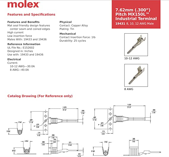 amazon com 40 amps molex mx150l sealed 2 pin wire connector male rh amazon com