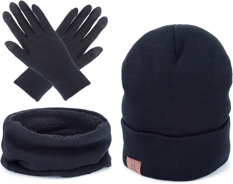 AWAYTR Unisex Winter Warm Beanie Hat Scarf Touch Screen Gloves,3 Pieces Set