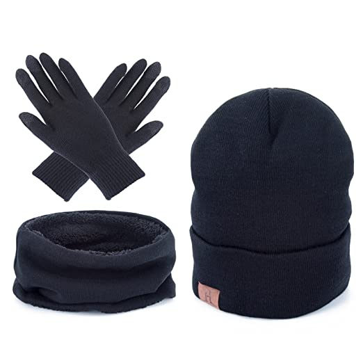 a539a96ed95 Men Winter Warm Beanie Hat - Women Scarf Touch Screen Gloves 3 Pieces Set  (Black