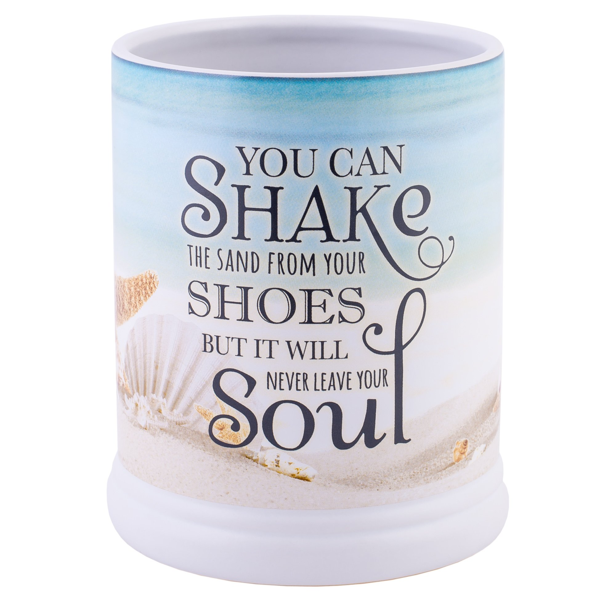 Elanze Designs Shake The Sand from Shoes Beach and Ocean Stoneware Electric Jar Candle Warmer