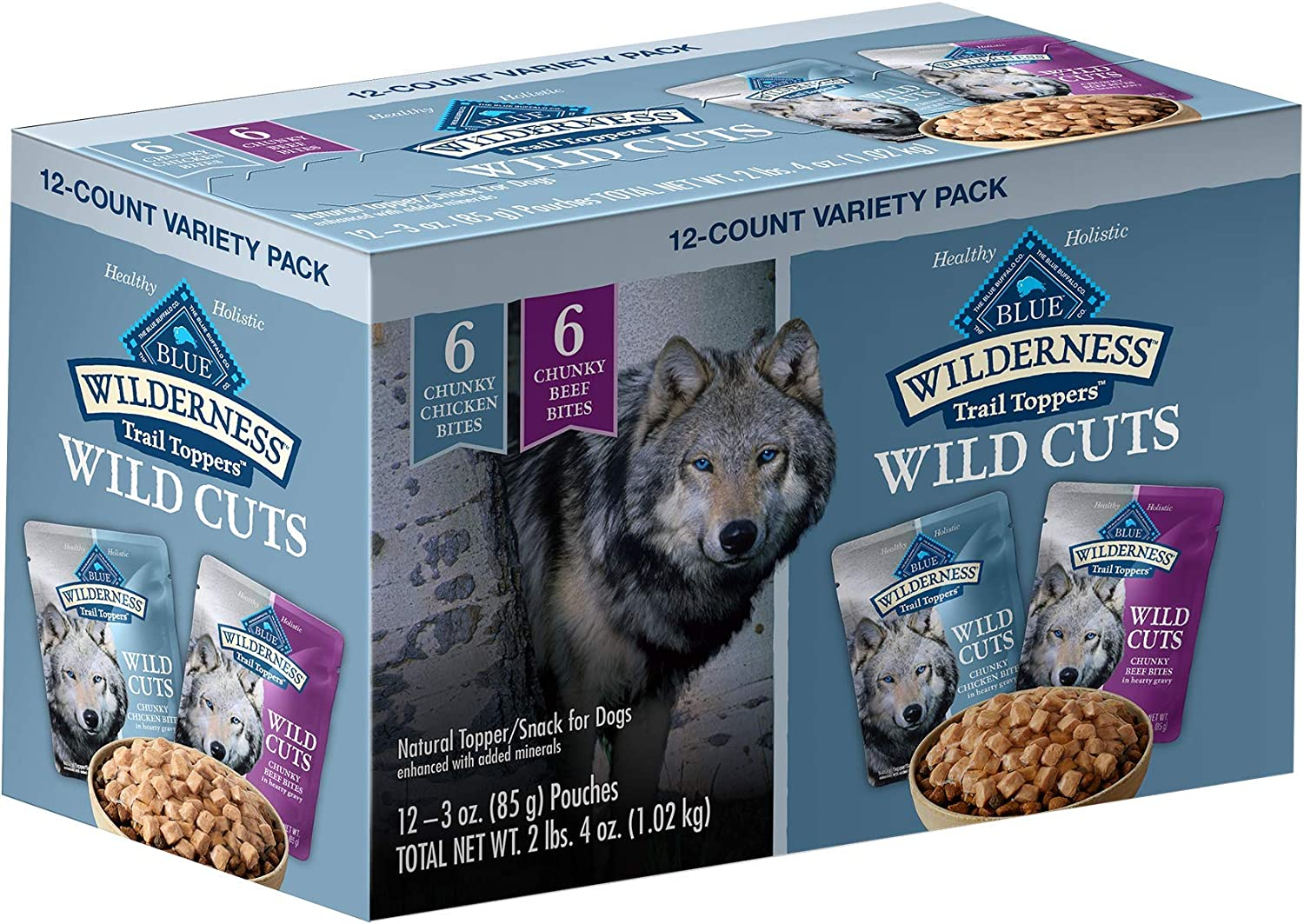 Blue Buffalo Wilderness Trail Toppers Wild Cuts High Protein, Natural Wet Dog Food, Chunky Bites in Hearty Gravy, 3-oz Pouches