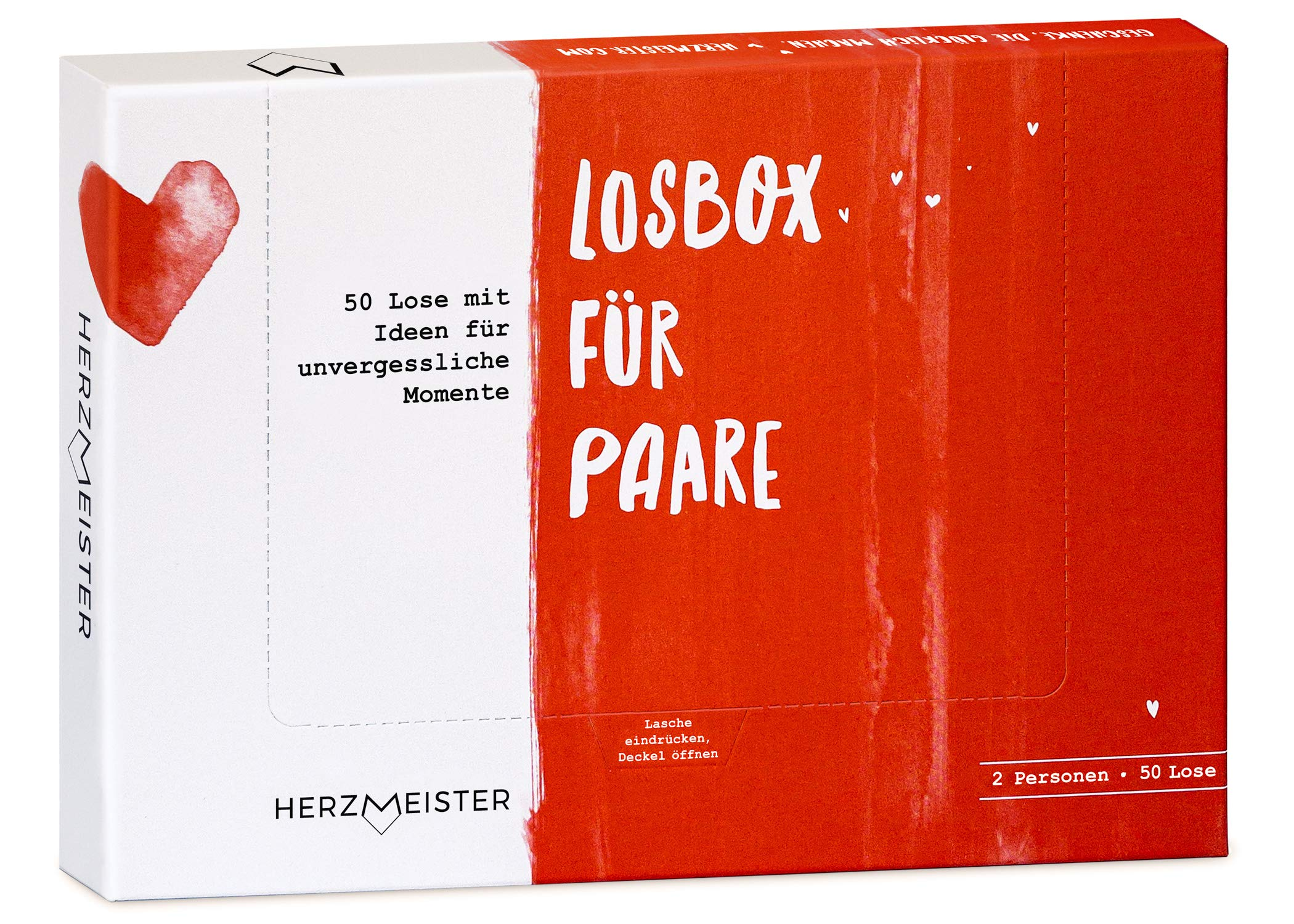 NEU: Losbox für Paare   Das Paar-Geschenk für 50 unvergessliche Momente   50 Lose mit Ideen für Spiel, Spaß & viel Liebe   Zur Hochzeit, zum Geburtstag & Jahrestag für Mann, Frau, Freund, Freundin Bild