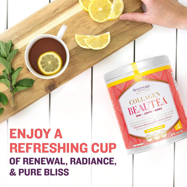 Reserveage Nutrition - Piel de colágeno Beautea, articulaciones, soporte óseo té blanco + limón - 48Bolsitas de té: Amazon.es: Salud y cuidado personal