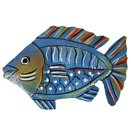 Blue Painted Fish Metal Wall Art A Fair Trade Sculpture From Haiti Indoor Or Outdoor Seashore Scene