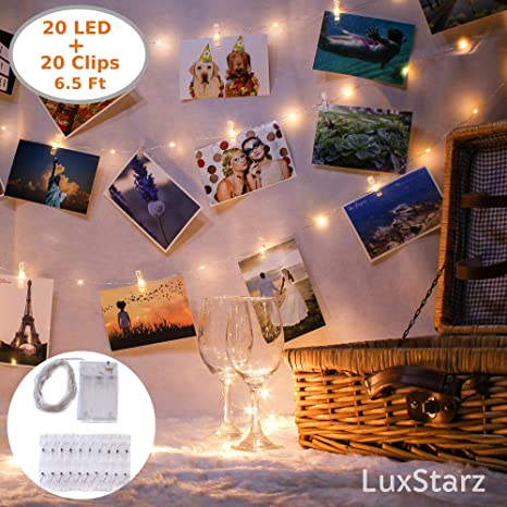 Photo Clip String Lights 20 Led Lights For Bedroom Light Decor Picture Hanging Decoration With Decorative Mini Clip Clothespins Photo Lights Hang