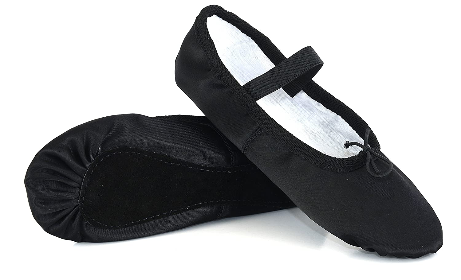 Black Ballet Satin Dance Shoes, Silky Finish, Full Sole Satin Shoes with Elastics