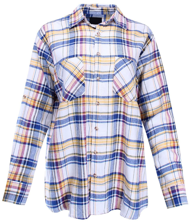 Ladies Code Womens Boyfriend Shirt Flannel Plaid Button Down One Size