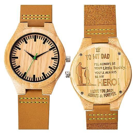 Grabado Reloj de Pulsera Bambú Relojes Madera Analógico de Cuarzo para Hombre Correa de Cuero (To Dad from Son): Amazon.es: Relojes