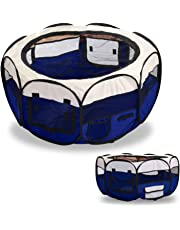 SavingPlus Fabric Pet Dog Cat Puppy Playpen Soft Foldable Rabbit Guinea Play Blue