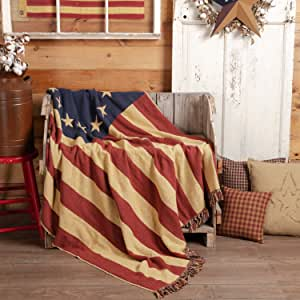 """VHC Brands Seasonal Pillows & Throws-Old Glory Woven Throw, 50"""" x 60"""", Americana Red"""