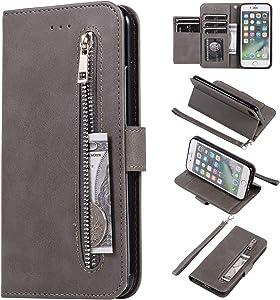 EYZUTAK Wallet Case for iPhone 7 iPhone 8 iPhone SE 2020, 5 Card Slots Magnetic Closure Zipper Pocket Handbag PU Leather Flip Case with Wrist Strap TPU Kickstand Cover - Gray