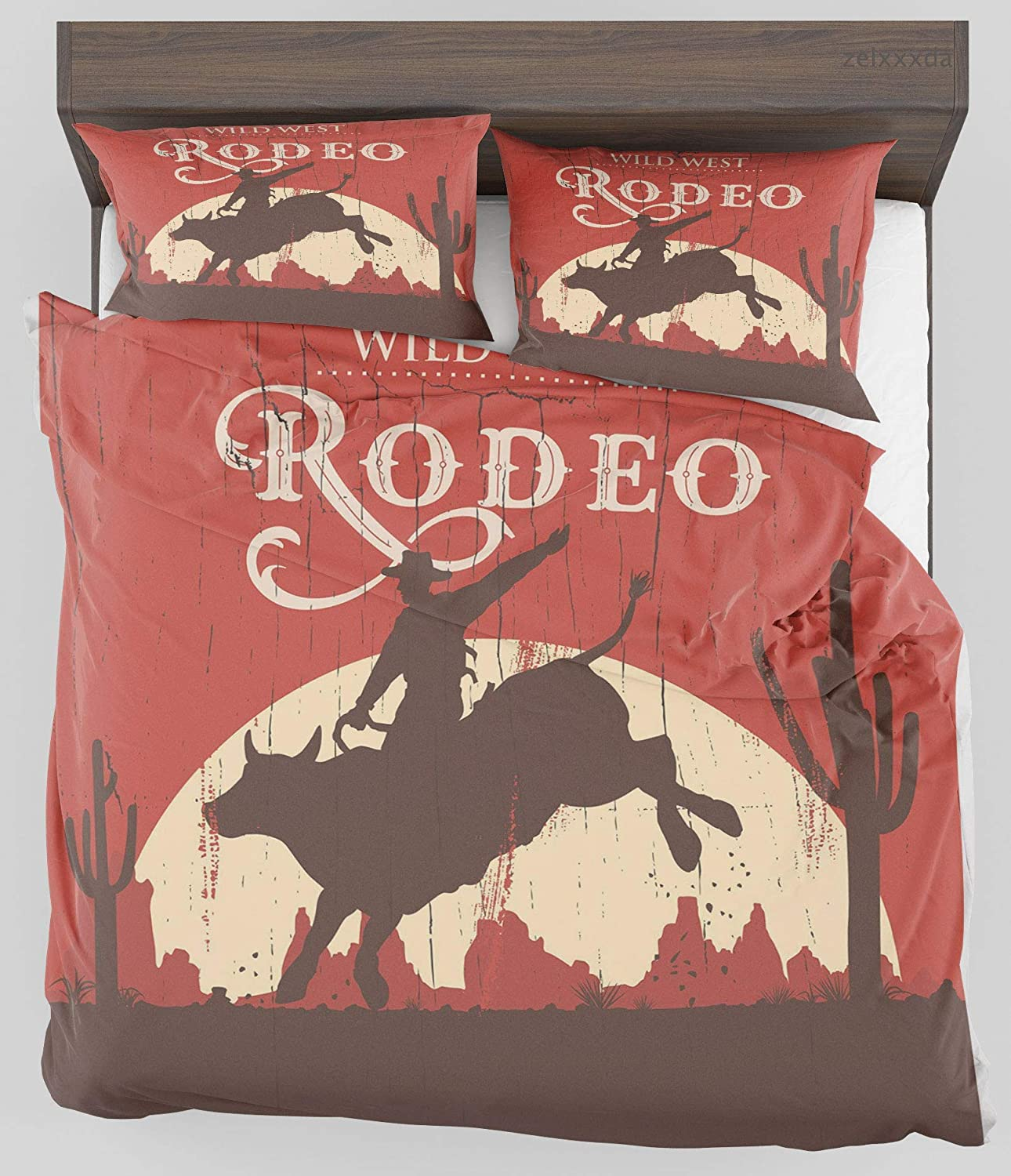 ZELXXXDA Decor Bedding Set Vintage Rodeo Cowboy Riding Bull Wooden Old Sign Western Style Wilderness at Sunset Image Twin/Twin XL Size Duvet Cover with 2 Matching Pillow sham