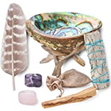 Home Cleansing & Smudging Kit with White Sage, Palo Santo, Abalone & Stand, Smudge Feather & Guide (Regular)