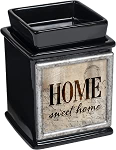 Elanze Designs Home Sweet Home Ceramic Glossy Black Interchangeable Photo Frame Candle Wax Oil Warmer