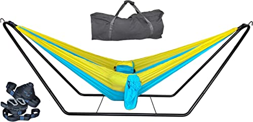 cutequeen 210T Nylon Hammock with Space Saving Steel Stand and Tree Straps,Sky Blue Golden 450 lb Capacity – Premium Carry Bag Included