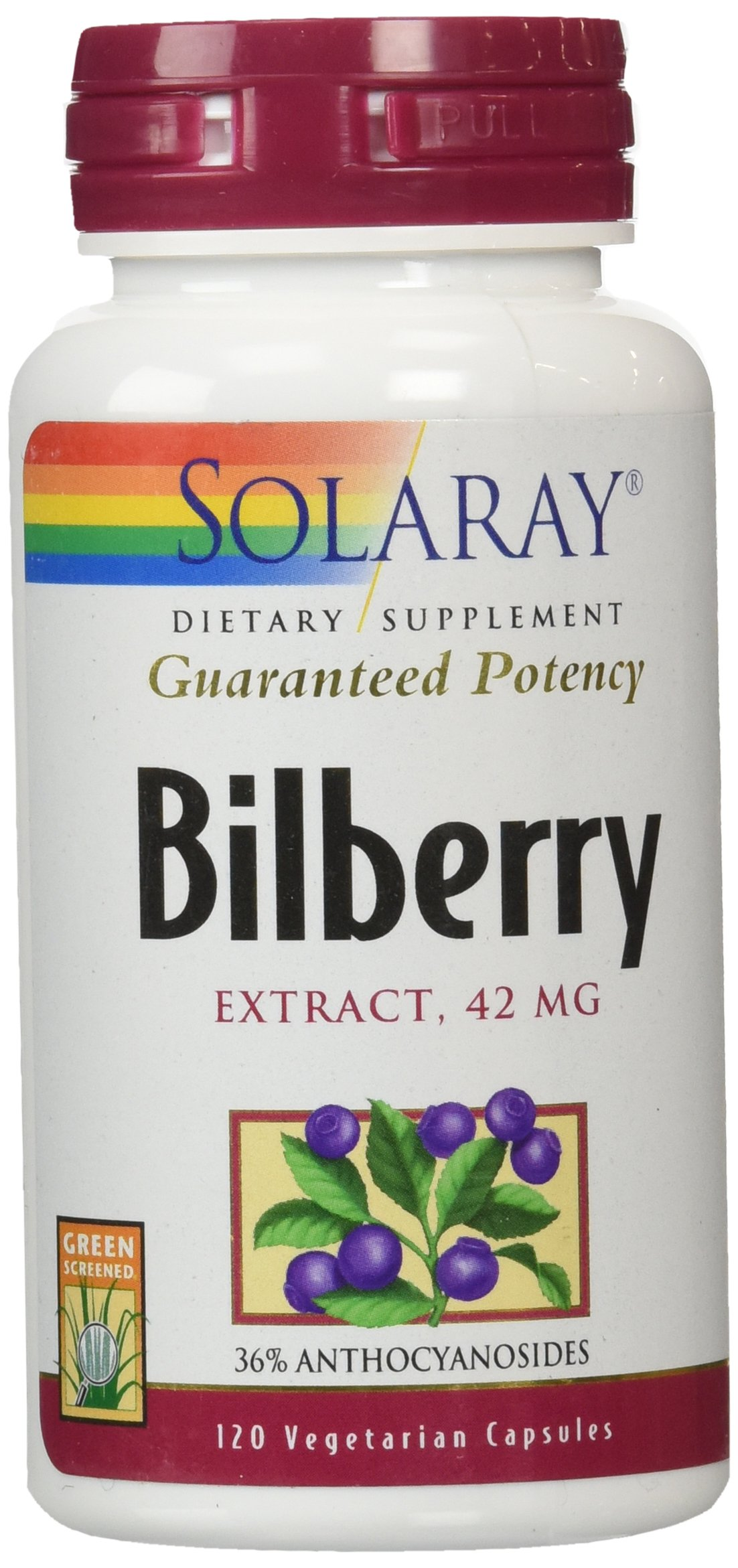 Solaray Bilberry Extract, 42mg, 120 Count