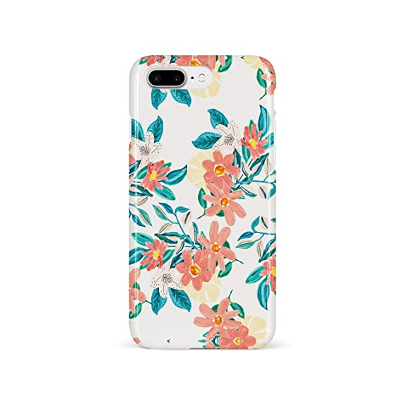 new product c6854 8555a HolaStar Case for iPhone 7 Plus/8 Plus, Pretty Pink Yellow Floral Green  Leaves Design Soft Cover