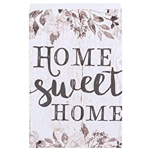 P. Graham Dunn Home Sweet Home Grey Floral White 5 x 3.5 Inch Solid Pine Wood Barnhouse Block Sign