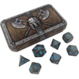 Skull Splitter Dice Ice King's Revenge Metal Dice - Gunmetal Gray with Blue Numbers | Solid Metal Polyhedral Role Playing Game (RPG) Dice Set (7 Die in Pack) with Awesome Dwarven Chest Dice Case