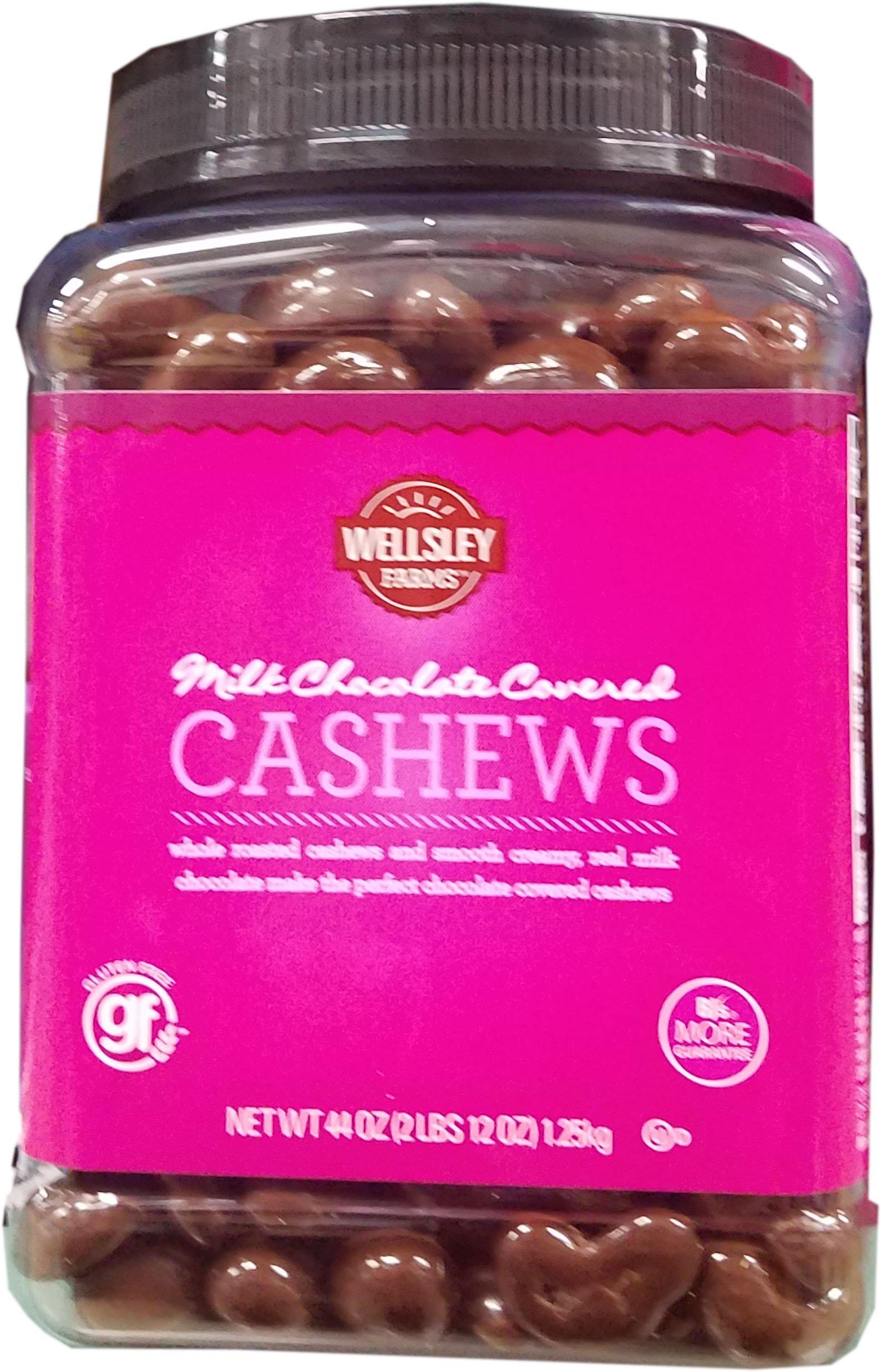 Wellsley Farms Milk Chocolate Covered Cashews, 44 OZ