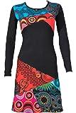 Buntes Langarm Kleid mit V-Ausschnitt und ausgefallene Patchwork Prints - Casual Chic - KAIA
