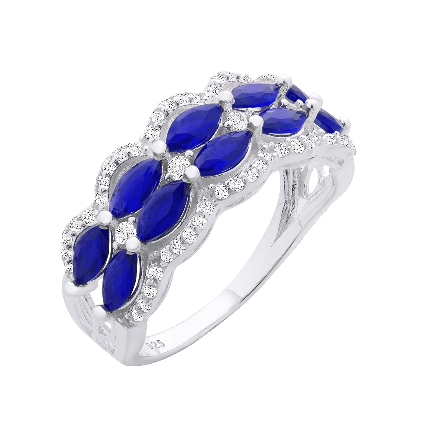 Chic Jewels RG2032-6 925 Sterling Silver Royal Blue Two Row Ring For Women,Oval Cut Stones