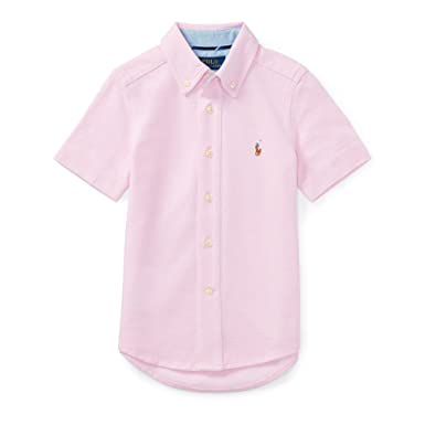 dbb9d06504bcb Amazon.com  RALPH LAUREN Boys Knit Cotton Oxford Shirt Size 7  Clothing