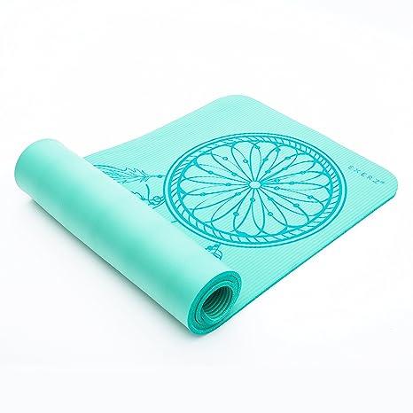 Exerz Yoga Alfombrilla/colchoneta de Gimnasia (con una Correa de Transporte y Bolsa – XL 183 x 61 cm – 8 mm de Grosor TPE de Alta Densidad/Eco ...