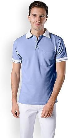 Clinic Dress Polo para hombre Hielo Azul Cuello de Polo azul/blanco