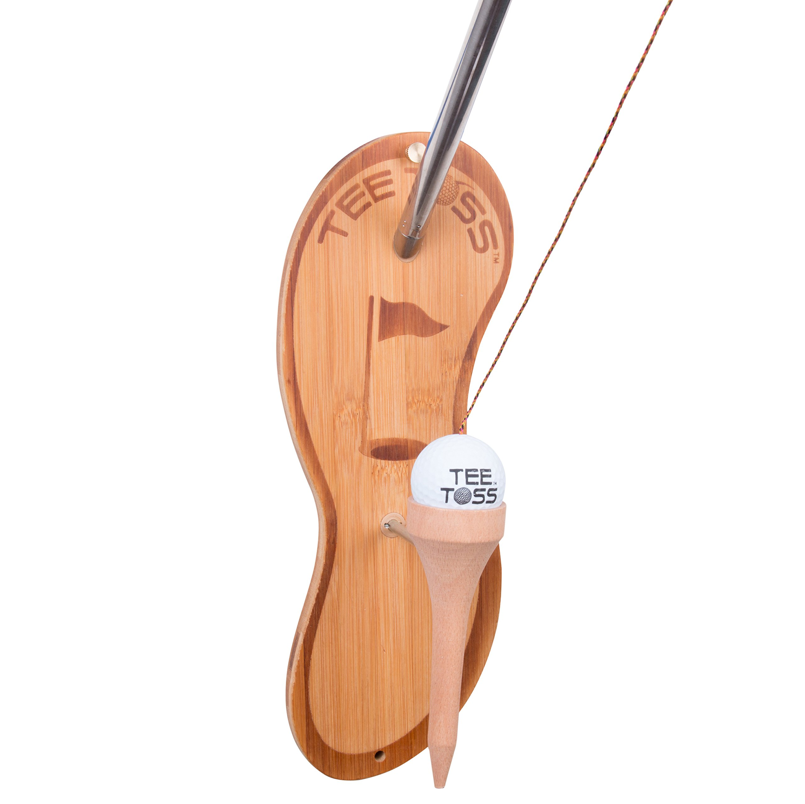 Golf Ball Deluxe Toss Game - 100% Bamboo - Be The First To Land The Ball Up On The Tee! (All Parts Included) by Tiki Toss