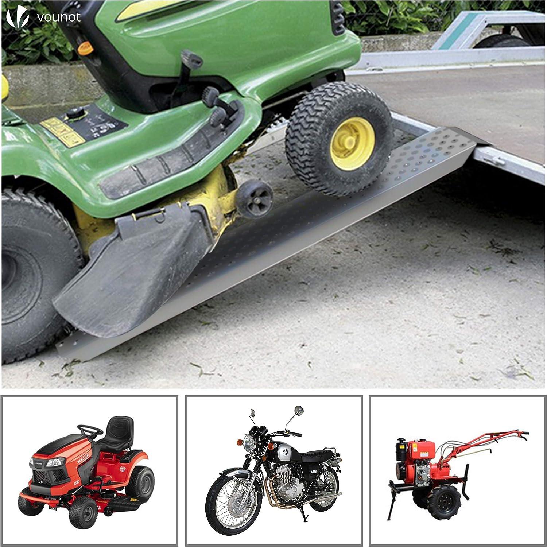 Vounot 2x Auffahrrampe 400kg Verzinkter Stahl Rutschfest Laderampe Für Motorrad Anhänger Rasenmäher Rasentraktor Länge 135cm Baumarkt